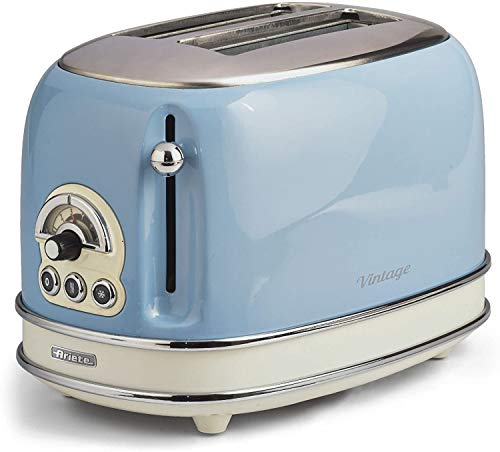 Ariete UK Ariete 0155/15 Retro Style 2 Slice Toaster, 6 Browning Levels and Removable Crumb Tray, Vintage Design, Stainless Steel, Blue