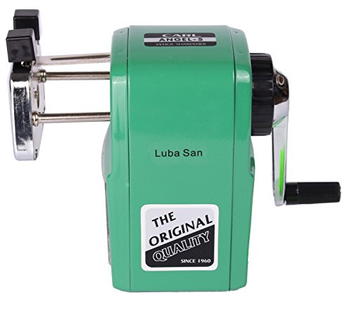 CARL Angel 5 Manual Pencil Sharpener Heavy Duty but Quiet for Office and Home Desks School Classroom,Green Photo #2