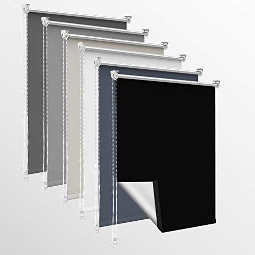 OUBO Verdunklungsrollo ohne Bohren & mit Bohren, (Schwarz, B100cm x H150cm), Klemmfix Rollos für Fenster & Tür, Verdunkelungsrollo Fensterrollos Klemmrollos Sonnenschutz