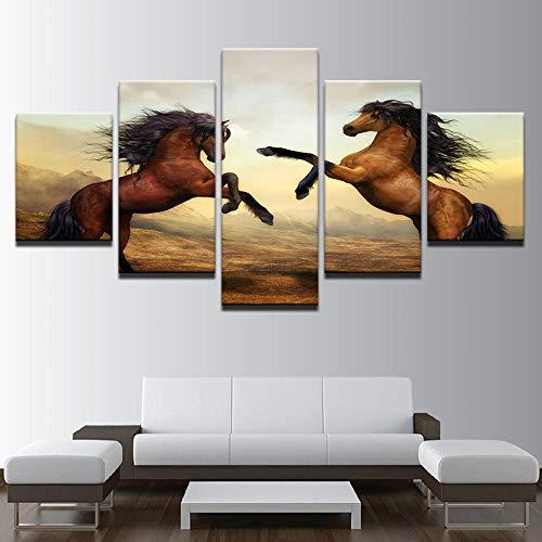 Wqavten 5 stuks decoratie fotografie paarden bruin zeedieren voor woonkamer afdrukken dierposter 20x35 20x45 20x55 cm lijst