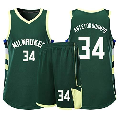 Geeignet für Bucks No. 34 Antetokounmpo, geeignet für Kinder-Basketball-Uniformen und Shorts, Kinder,einsetzbar für das Basketballtraining-Green-XL