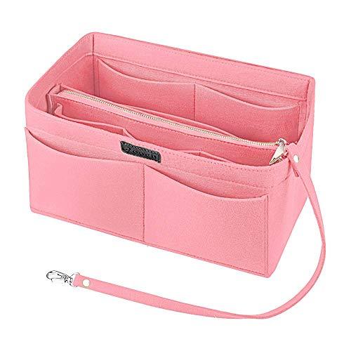 Ropch Filz Taschenorganizer für Frauen Handtaschen, mit Reißverschluss-Tasche und Schlüsselkette Handtaschen Organizer Handtaschenordner Taschen Organisator, Rosa - M
