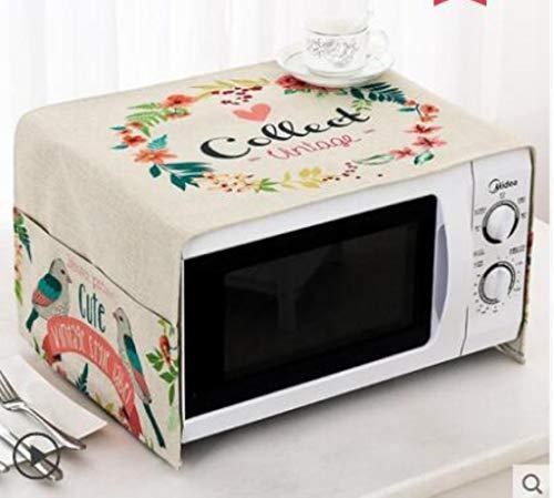 Gouen Housse de Protection pour Micro-Ondes en Coton et Lin avec Pochette Cuisine Poussière d'huile Étanche Double Poches Accessoires de Cuisine, S, 100CM X 35CM