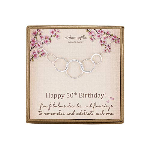 50th Birthday Gifts for Women - Sterling Silver 5 Circle 5 Decades Jewelry Infinity Necklace, Mothers Day Birthday Gift Jewelry