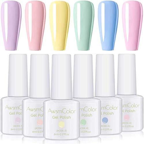 AwsmColor Lot de 6 flacons de 8 ml couleur pastel