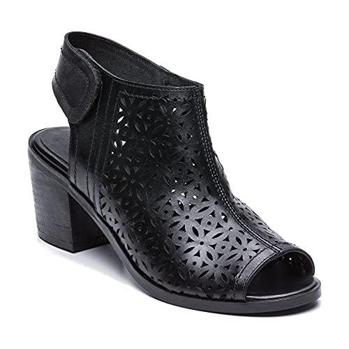 Zerimar skórzane sandały buty dla kobiet   Botki z odkrytymi palcami   Letnie buty dla kobiet