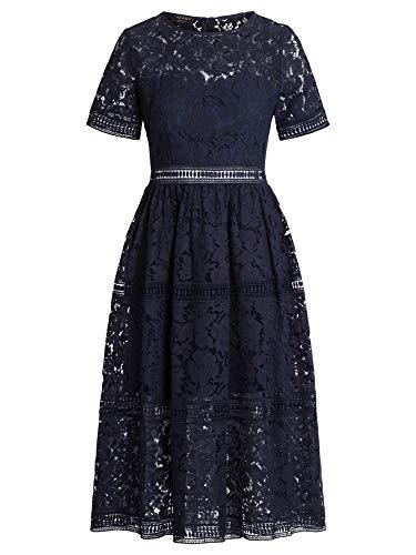 Apart Damen Spitzenkleid Formales Abendkleid, Nachtblau, 46