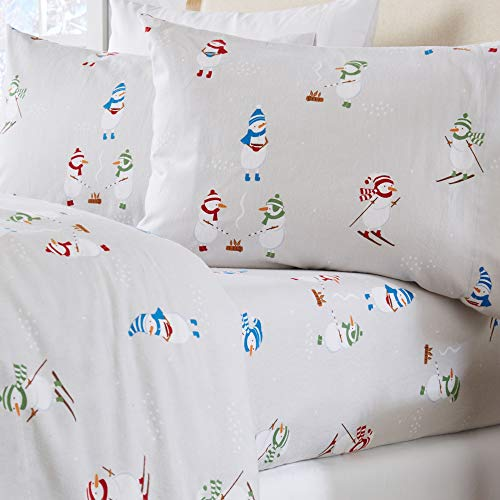Home Fashion Designs Stratton Collection Extra Soft Printed 100% Turkish Cotton Flannel Sheet Set. Warm, Cozy, Lightweight, Luxury Winter Bed Sheets. (Queen, Snowman)