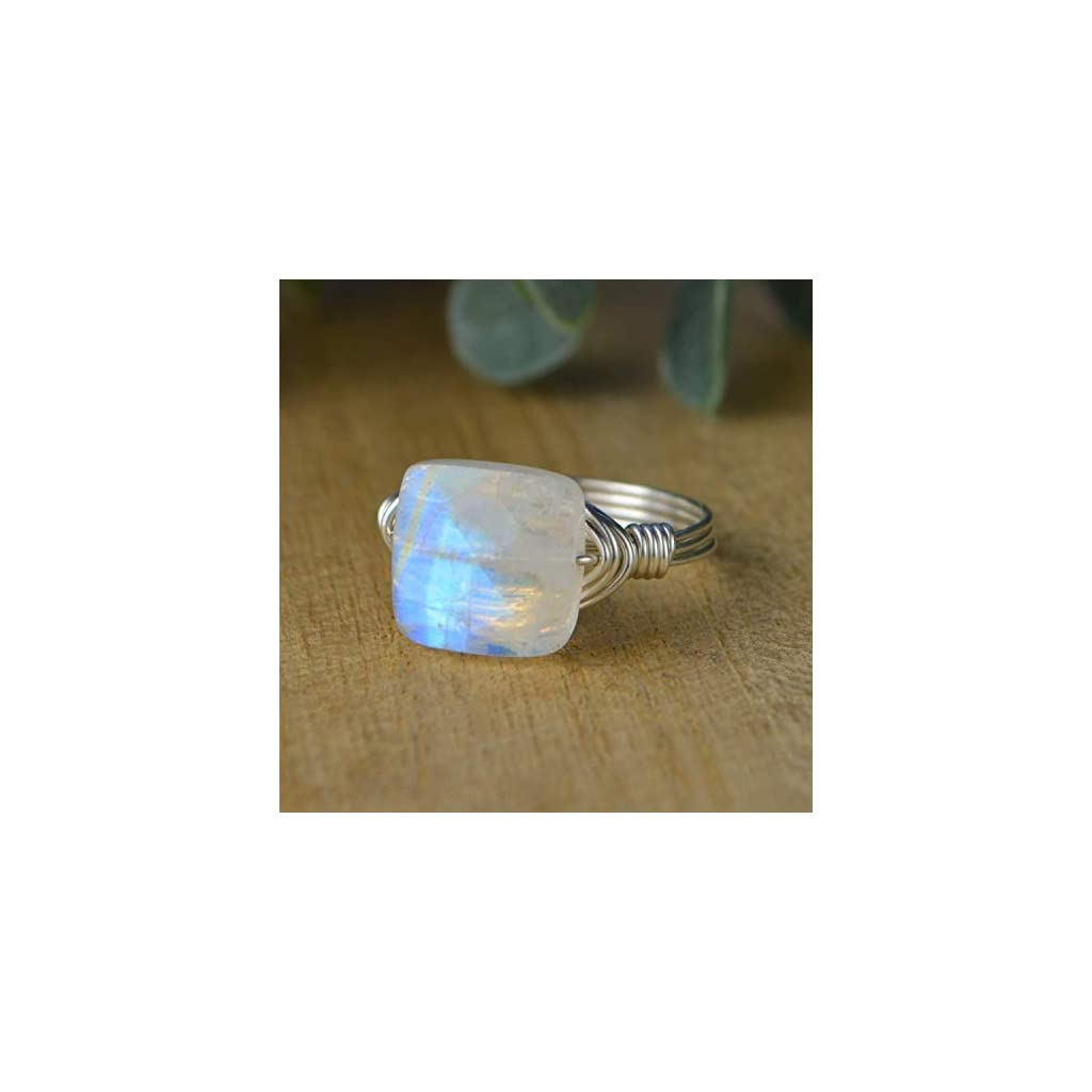 Rainbow Moonstone Ring- Faceted Square Gemstone and Sterling Silver or Gold Filled Wire Wrapped Ring