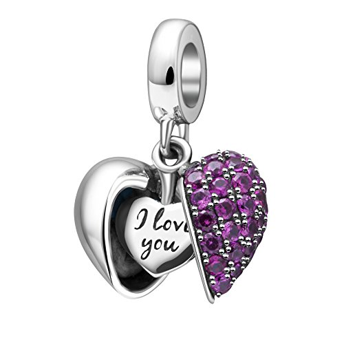 I Love You Charms Gunuine 925 Sterlingra Silver Love Heart Crystal Charms Bead