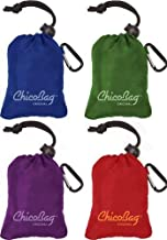 ChicoBag Original Reusable Grocery Bag with Attached Pouch and Carabiner Clip, Variety 4 Pack - Blue, Green, Purple, and Red