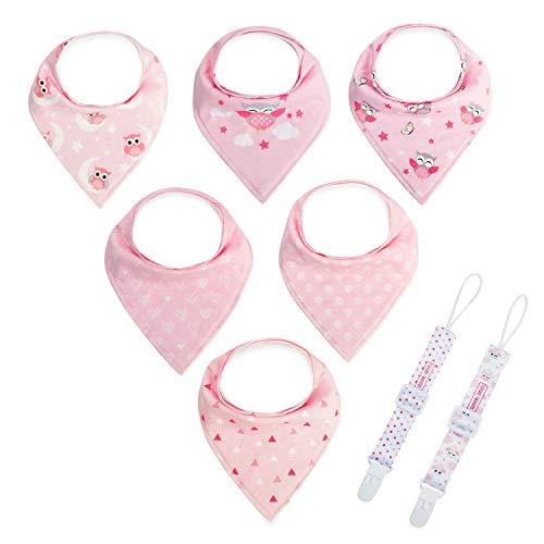 6 baberos triangulares con 2 cintas para chupete, pañuelo para bebé con, unisex