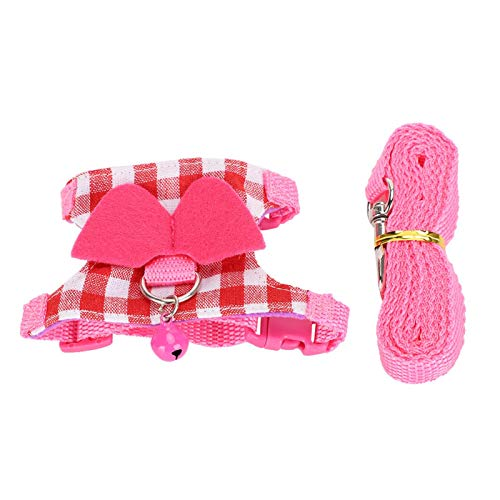HEEPDD Hamster Geschirr, Haustier verstellbar Pink Plaid Weste Leine Brustgurt Set Kleintier Outdoor Weich atmungsaktiv Gehgeschirr für Frettchen Chinchill(S.)