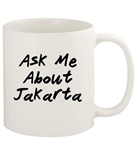 Ask Me About JAKARTA - 11oz Ceramic White Coffee Mug Cup, White