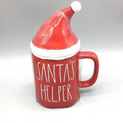 Rae Dunn Red SANTA'S HELPER Mug With Santa Hat Topper Christmas White LL