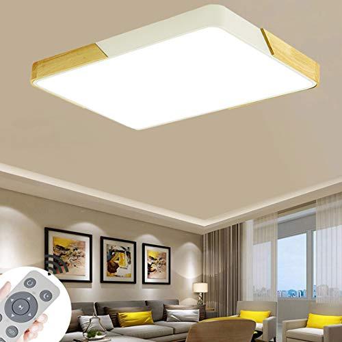 BFYLIN Lámpara LED de techo de 72 W, de madera, ultrafina, 6 cm, para dormitorio, salón, habitación de los niños, regulable (espacio de 72 W, regulable)