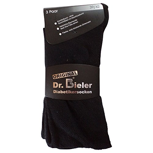 6pares de calcetines calcetines sin goma diabéticos 98% algodón sin goma negro azul gris Negro negro