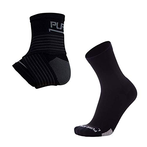 Pure Athlete Ankle Sleeve with Support Sock– Men Women Compression Brace for Arch Support, Heel Pain Relief (Black, Medium)