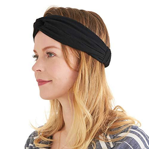 Turban Haarband Boho Style Damen - Sommer Stirnband Aus Damen Schweissband und Haareifen Headwrap Schwarz