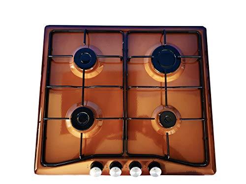 Placa de cocción encastrable con 4 quemadores y encendido eléctrico para cocinas de gas o metano, marrón