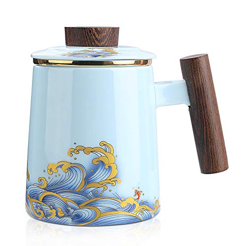 HOOASIS Tea Cup with Infuser and Lid,Ceramic Tea Mug with Pure Gold Ring Tea Infusers for Loose Tea,15 oz (Sky Blue)