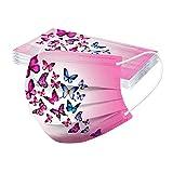Generic 10PCS 𝐦𝐚𝐬𝐪𝐮𝐞𝐬 Adulte Jetable Unisexe imprimé Papillon Doux 3 Couches pour Halloween/Noël pour Adulte Femmes et Hommes
