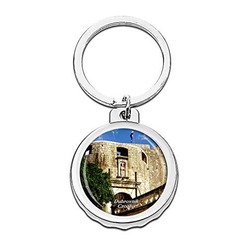 Hqiyaols Keychain Kroatien-Stapel-Gatter Dubrovnik Cap Flaschenöffner Schlüsselbund Creative Kristall Rostfreier Stahl Schlüsselbund Reisen Andenken