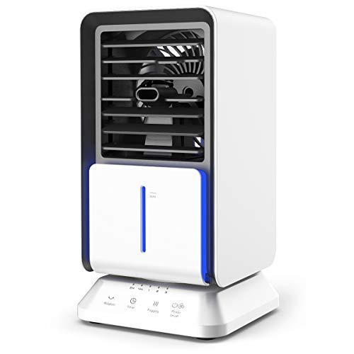 Mobile Klimageräte mini, infray mobile Klimaanlage Luftkühler klein, Verdunstungskühler mit Oszillation, air cooler, Luftkühler, Luftbefeuchter, Ventilator mit 320ML Wassertank, 3 Stufen 3 Timer