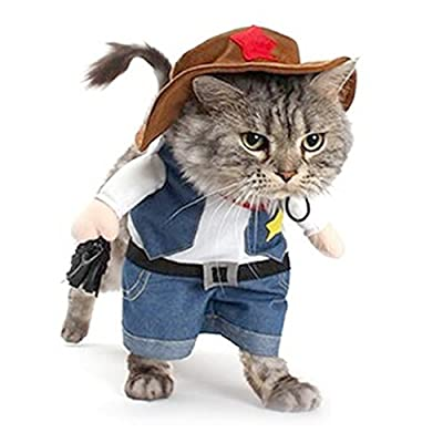 DELIFUR Christmas costumes,The Cowboy for Party Christmas Special Events Costume,West CowBoy Uniform with Hat, Funny Pet Cowboy Outfit Clothing for Dog Cat (M)