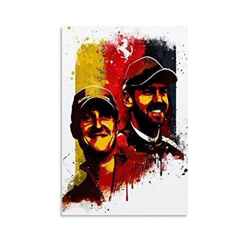 ZXCVW Poster mit Schumacher und Vettel, dekoratives Gemälde, Leinwand, Wandkunst, Wohnzimmer, Poster, Schlafzimmer, Malerei, 20 x 30 cm