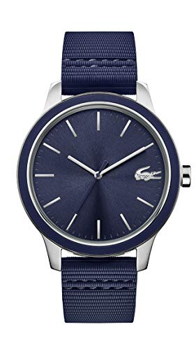 Lacoste Men's 12.12 Stainless Steel Quartz Watch with Silicone Strap, Blue, 20 (Model: 2011086)