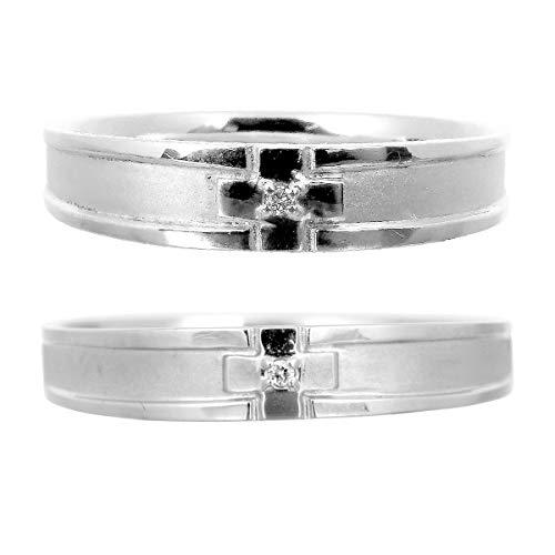 [ココカル]cococaru ペアリング 2本セット K18 ホワイトゴールド 結婚指輪 ダイヤモンド 日本製(レディースサイズ11号 メンズサイズ20号)