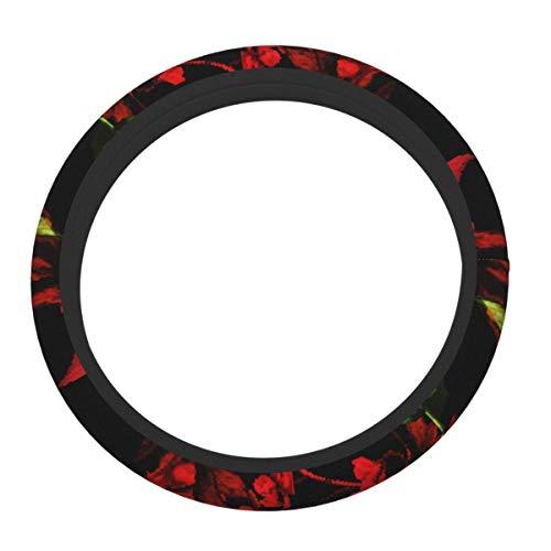 Cubierta de volante de neopreno para volante de coche, diseño floral, vintage, diseño floral, color rojo