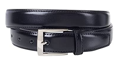 Sportoli Mens Classic Genuine Leather Metal Buckle Uniform Casual or Dress Belt - Black (36)
