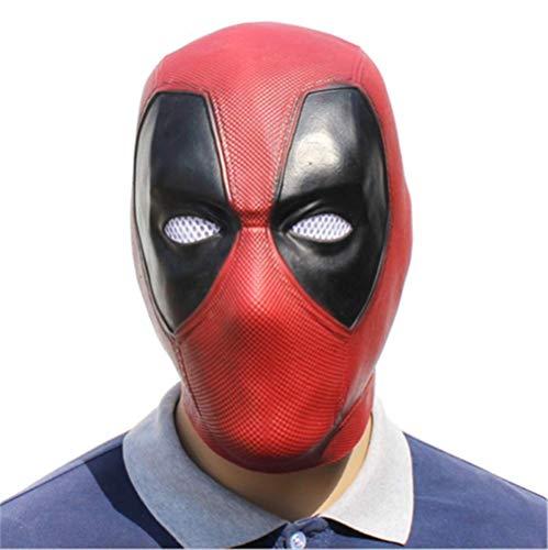Deadpool Maske Latex Kostüm Erwachsene Helm Deluxe Flexibel Full Head Cosplay Zubehör Requisiten Dekoration Halloween Party Rot