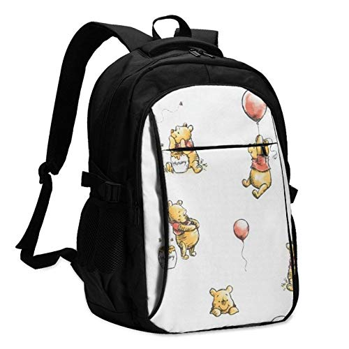 XCNGG Winnie The Pooh Laptop Backpack Anti Theft Water Resistant Durable Computer Bag USB Charging Port Fits 15.6 Inch Laptop and Notebook College School Business Travel