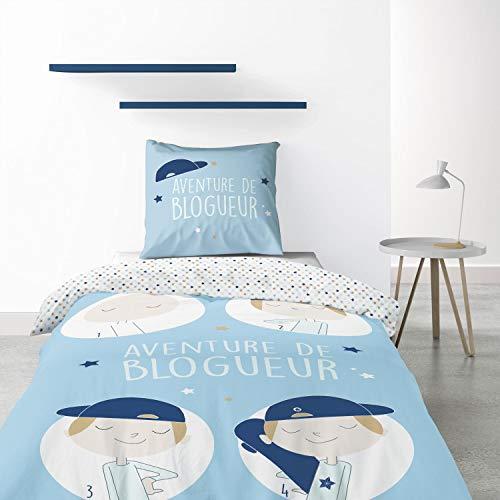 Les Ateliers du Linge - Juego de funda de edredón y funda de almohada (140 x 200 cm), diseño de blogurero