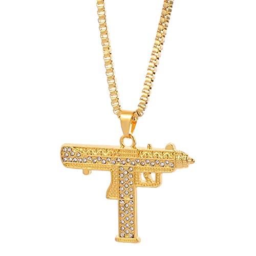 ZhenS Gótico Hip Hop Uzi Kolye Collar Colgante con Forma de Pistola Estilo Militar Cadena Masculina Collares para HombresJoyería-Oro con Diamantes, 60cm
