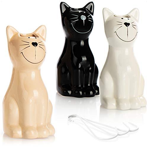 com-four® 3X Luftbefeuchter Heizung - Heizkörper Luftbefeuchter in weiß, schwarz, beige - Heizung Wasserverdunster aus Keramik im Katzendesign (03 Stück - Katze)