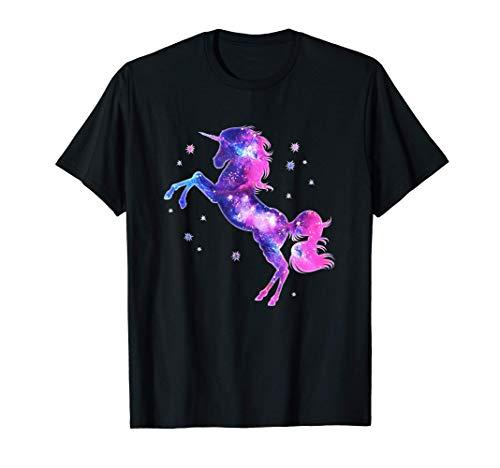 Unicornio, Magia, Estrellas, Espacio, Rosa, Cielo estrellado Camiseta