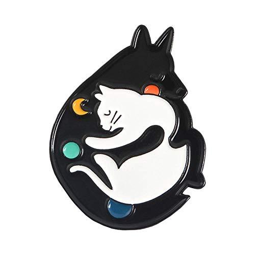 ROTOOY Katze Kindergarten Emaille Pins Box Kätzchen Umarmung Katzen Abzeichen Benutzerdefinierte Brosche Tasche Kleidung Anstecknadel Cartoon Tierschmuck Geschenk-Stil5