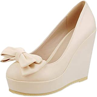 Smilice Women Wedge Court Shoes with Bowtie