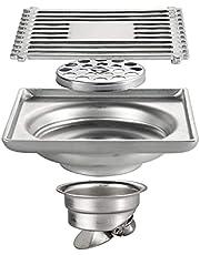 フロアドレン10cmスクエアシャワードレンステンレススチールシャワーフロアドレンヘアストレーナーとカバー付き、クラシックフロアドレントラップバスルームキッチン用排水、ロールオーバー下水道バルブ