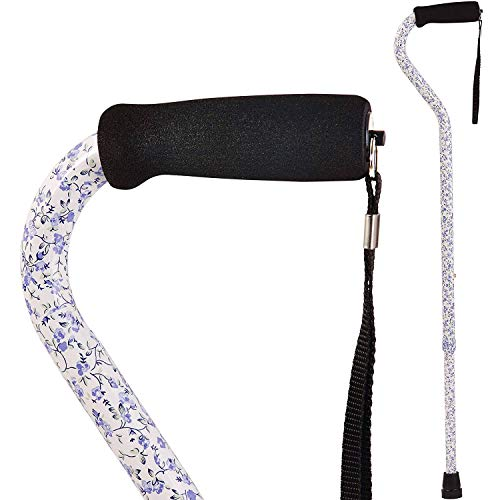 DMI Adjustable Designer Cane with Offset Handle, Comfort Grip and Strap, Tiny Flowers
