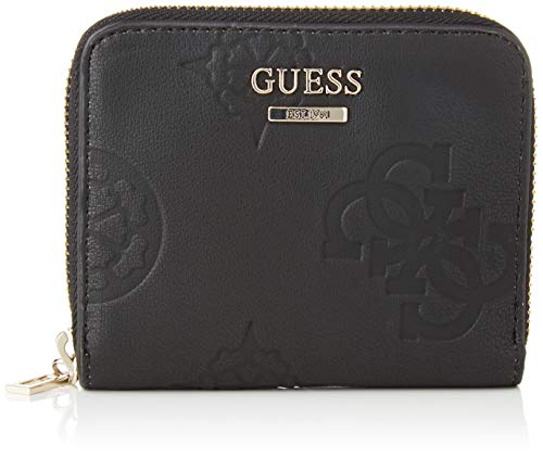 Guess Open Road SLG Small Zip Around, Leather Goods para Mujer, Negro, Talla única
