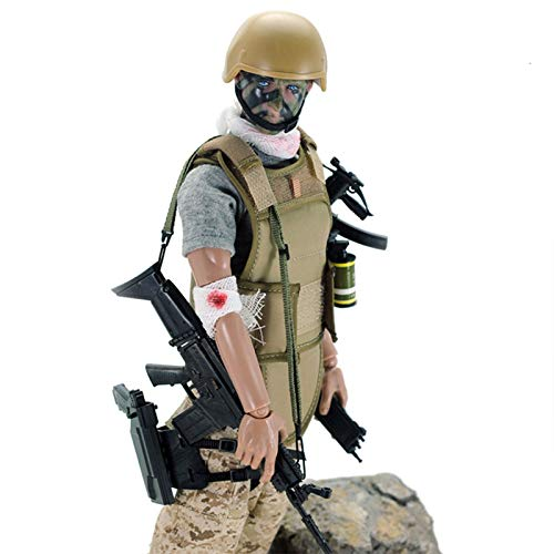 Haoun 1/6 Scale Army Military Soldier Action Figures, 12 Inch Flexible Soldiers Model Set with Accessories Model Collection Military Toys - Wounded Soldier