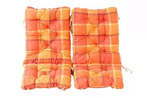 Ambientehome 2er Set Polsterauflage für Klappstuhl, kariert orange, ca 90 x 40 x 8 cm, Kissen Sitzauflage