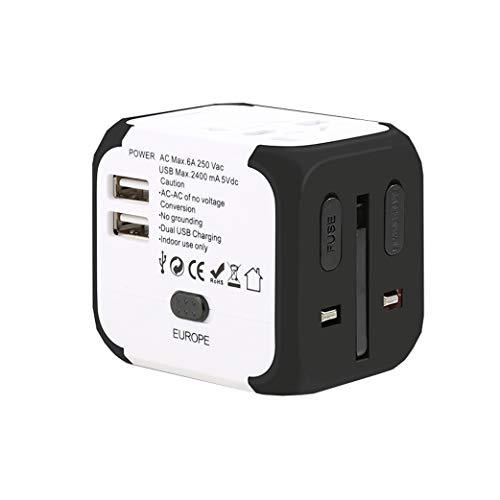 Adaptador de corriente universal para viajes inter Adaptador de viaje universal, adaptador de enchufe universal para viajes mundiales, adaptador de energía internacional con puertos USB C para EE. UU.