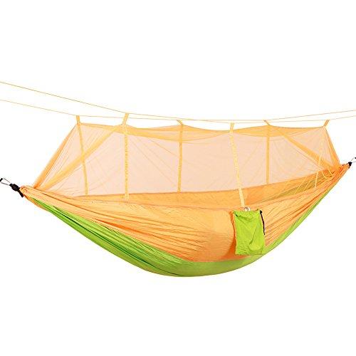 DaiHan Camping Hamaca con mosquitera Ligero Nylon paracaídas Hamaca Hamaca de Carga para jardín al Aire Libre Camping Senderismo Mochila de Viaje Amarillo Verde M