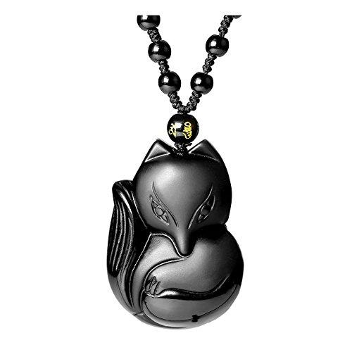 JSDDE Schmuck Fuchs Anhänger Kette Heilung Reiki Mala Amulett Anhänger aus Heilsteine Glücksbringer einstellbar geflochten Halskette für Frauen Herren (Obsidian)